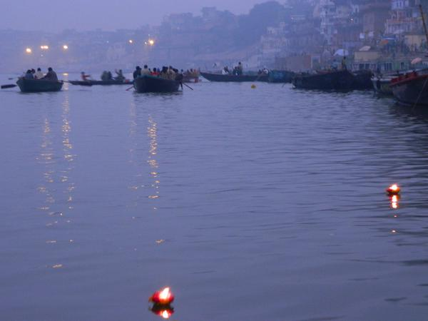 A sacrifice flowing on the river Ganges - Varanasi