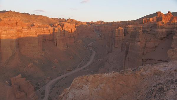 Sunrise and sunset at Charyn Canyon