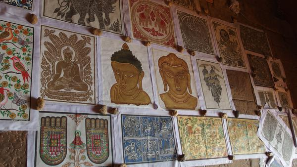 Burmese sand paintings with Buddhism symbols